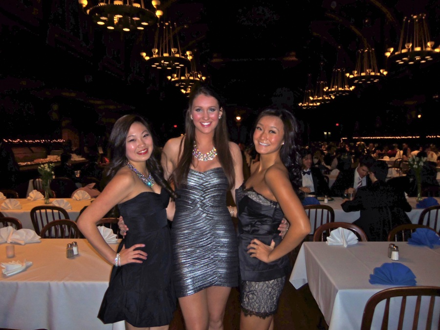 Sarvis with two friends before formal last year in Annenberg, Harvard's freshmen dining hall famous for its architecture, which resembles something out of Harry Potter.  PHOTO / NICOLE SARVIS