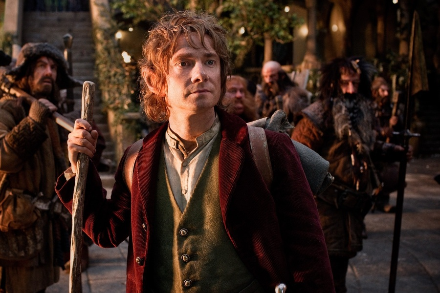 "(L-r) JAMES NESBITT as Bofur, MARTIN FREEMAN (front) as Bilbo Baggins, STEPHEN HUNTER as Bombur, GRAHAM McTAVISH as Dwalin, WILLIAM KIRCHER as Bifur, and JED BROPHY as Nori in the fantasy adventure ""THE HOBBIT: AN UNEXPECTED JOURNEY,"" a production of New Line Cinema and Metro-Goldwyn-Mayer Pictures (MGM), released by Warner Bros. Pictures and MGM."