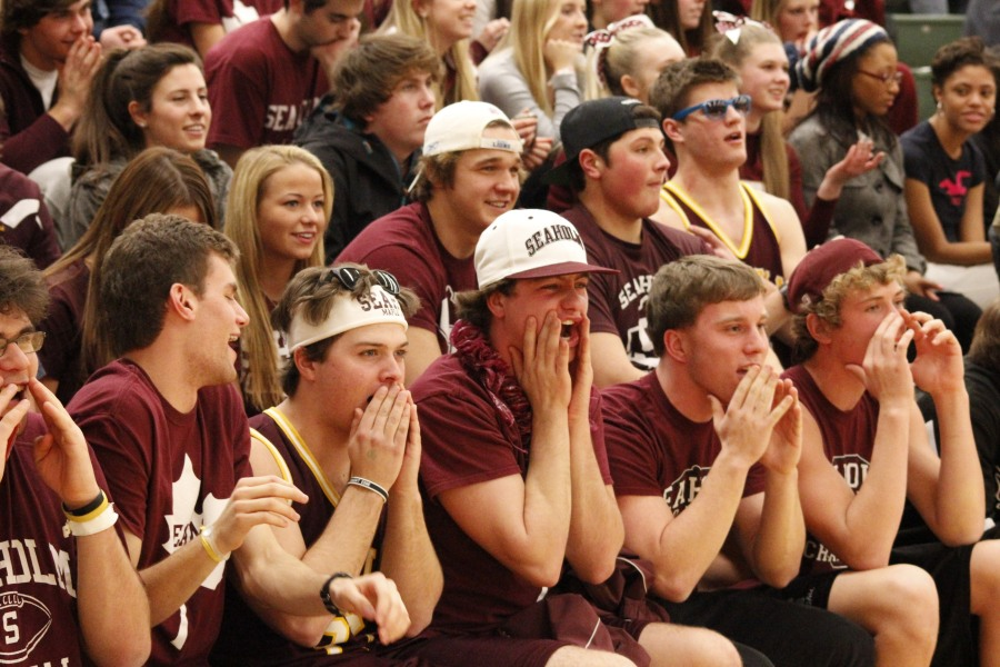 """A small segment of the """"Maple Forest"""", the loud and frequently publicized Seaholm student section.  PHOTO / MADELINE TEW"""
