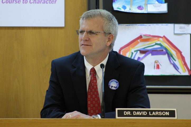 Larson during the March 20 BPS board meeting. It was here that he made his resignation announcement public.  PHOTO / SIMON SCHUSTER
