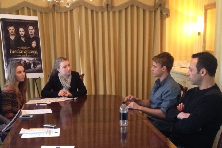 Two Highlander reporters [Kathleen Davis and Kelsey McClear] had the chance to sit down with two actors from the Twilight Saga, Erik Odom [right closest to center] and Guri Weinberg [far right].