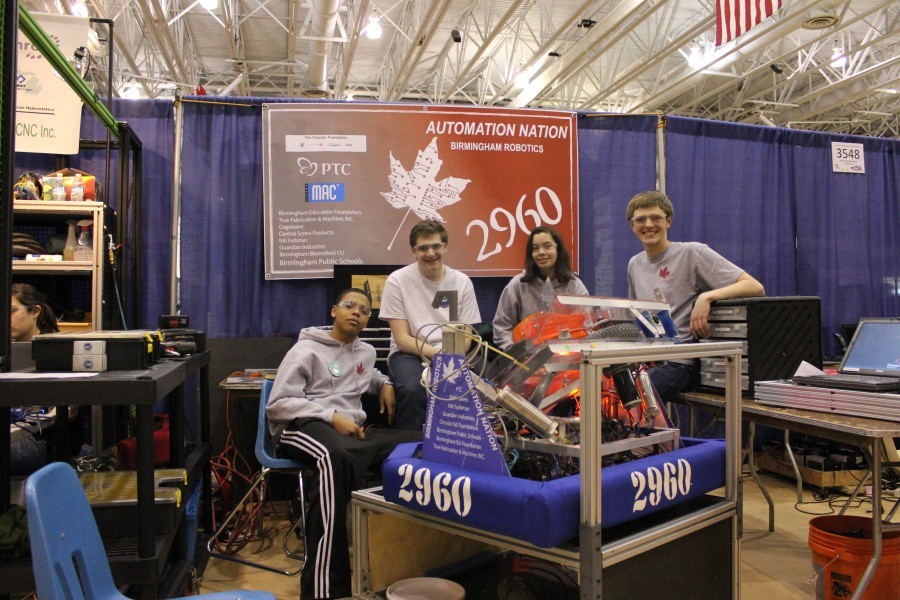 "Four Seaholm members of the Birmingham Robotics Team ""Automation Nation.""  PHOTO / BERNIE SIMMS"