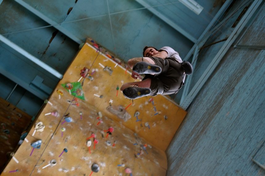 Senior Hunter Gvozditch climbs at Miguel's Pizza and Rock Climbing.  PHOTO / MOLLY FORCE