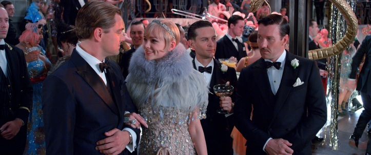 "(L-r) LEONARDO DiCAPRIO as Jay Gatsby, CAREY MULLIGAN as Daisy Buchanan, TOBEY MAGUIRE as Nick Carraway and JOEL EDGERTON as Tom Buchanan in Warner Bros. Pictures' and Village Roadshow Pictures' drama ""THE GREAT GATSBY,"" a Warner Bros. Pictures release."