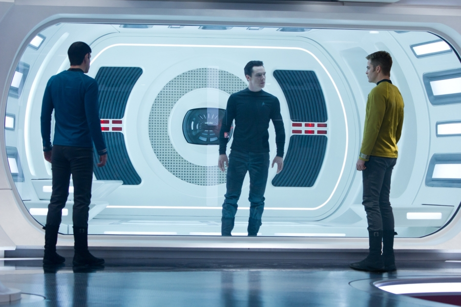 Left to right: Zachary Quinto as Spock, Benedict Cumberbatch as Kahn, and Chris Pine as Captain Kirk.  PHOTO / FSR