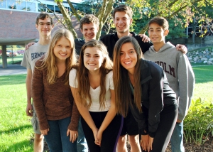 Senior National Merit Semi-Finalists  in the courtyard. Top row: Ian O'Rourke, Russel Ladd, John Greenburger, Andrew Geller Bottom row: Kendall Hitch, Olivia Darany, Rachel Mucha/ Photo By Seaholm High School
