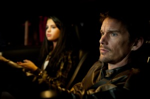 """(L-r) SELENA GOMEZ as The Kid and ETHAN HAWKE as Brent Magna in Warner Bros. Pictures and Dark Castle Entertainment's action thriller """"GETAWAY,"""" a Warner Bros. Pictures release."""