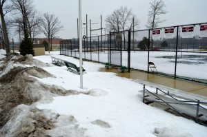 Seaholm's tennis courts remained covered in snow through this year's spring sports tryouts.  Claire Markley / Photo