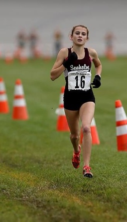Audrey Belf races for Seaholm Cross Country in the 2013-2014 season. Photo Courtesy / Audrey Belf