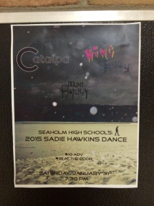 Sadie Hawkins dance flyers are posted around the school. Photo / McKenna Ross