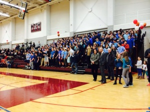 The student section watches the game. They dressed in blue in support of Berkshire student Trevor Sullivan.